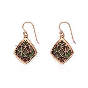 Rose Gold Plated Silver Black Mother of Pearl Earrings