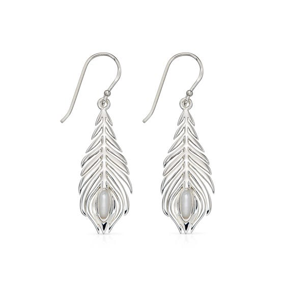 Silver Peacock Feather Earrings