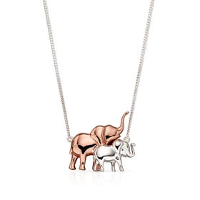 Menagerie Silver & Rose Mum & Baby Elephant Necklace