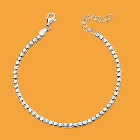 Identity Silver Tumbled Cube Bracelet