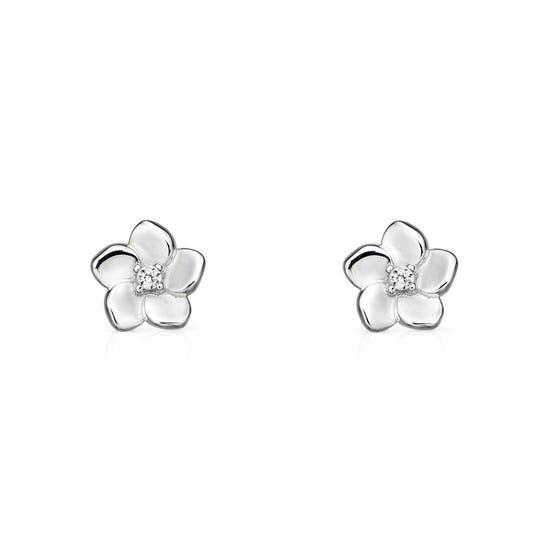 Meadow Silver CZ Cherry Blossom Earrings