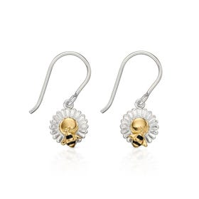 Meadow Silver & Gold Plated Bee & Flower Earrings