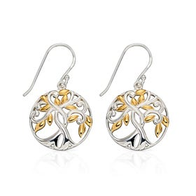 Meadow Silver & Gold Plated Tree Of Life Earrings