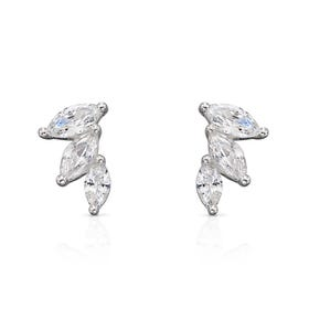 Brina Silver CZ Marquise Earrings