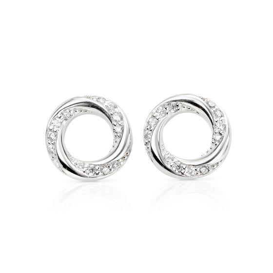 Selene Silver CZ Twisted Earrings