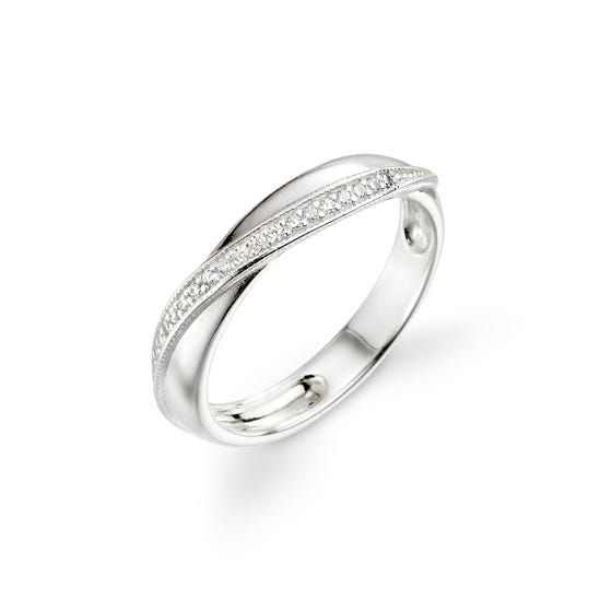 Selene Silver CZ Twisted Wrap Ring