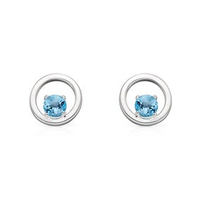 Iris Silver Round Blue Topaz Earrings