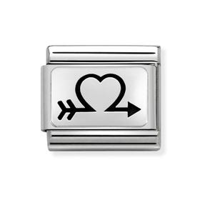 Classic Silver Open Heart Arrow Charm