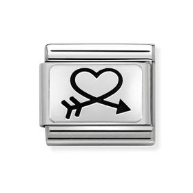 Classic Silver Closed Heart & Arrow Charm
