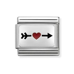 Classic Silver Arrow With Red Heart Charm