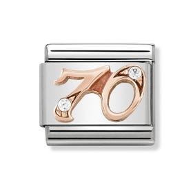Classic Rose Gold Number 70 Charm