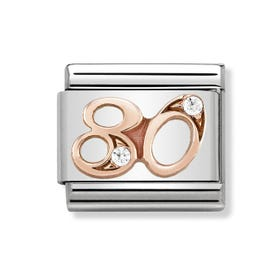 Classic Rose Gold Number 80 Charm