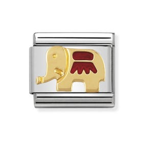 Classic Gold Red Elephant Charm