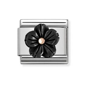 Classic Rose Gold Onyx Flower Charm