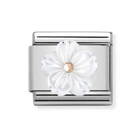 Classic Rose Gold Mother of Pearl Flower Charm