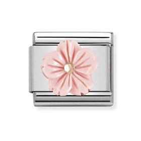 Classic Rose Gold Coral Flower Charm