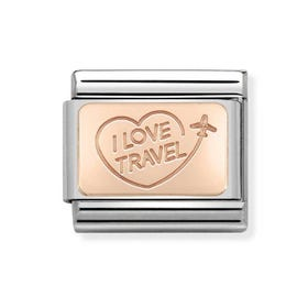 Classic Rose Gold I Love Travel Charm