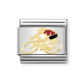 Classic Gold & Red Cyclist Charm