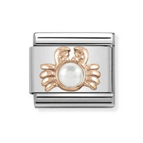 Classic Rose Gold White Pearl Crab Charm