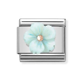 Classic Rose Gold Turquoise Flower Charm