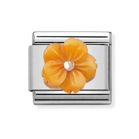 Classic Rose Gold Orange Flower Charm