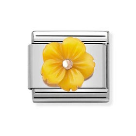 Classic Rose Gold Yellow Flower Charm