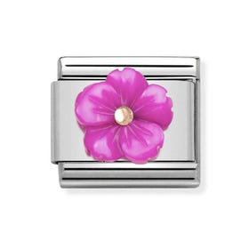 Classic Rose Gold Fuchsia Flower Charm