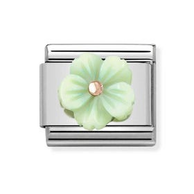 Classic Rose Gold Green Flower Charm