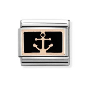 Classic Rose Gold Black Anchor Charm