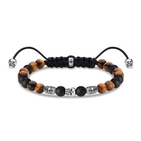 Rebel Obsidian & Tiger's Eye Skull Bead Bracelet