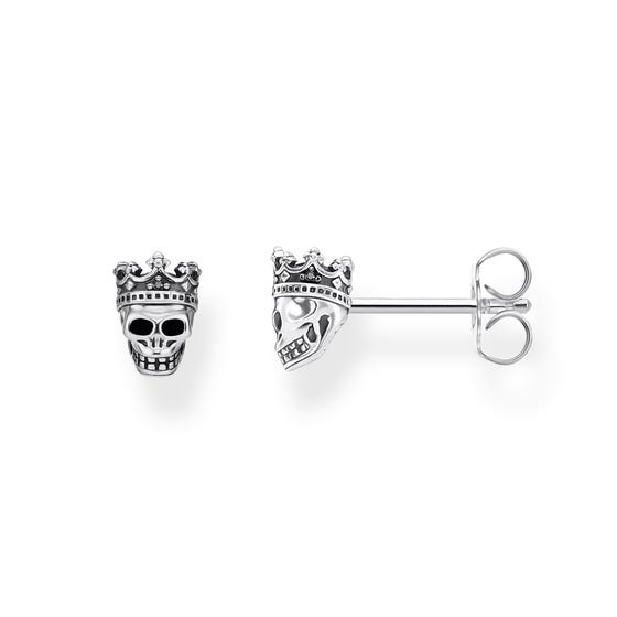 Silver Skull King Stud Earrings