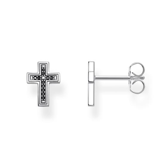 Silver Black Cross Stud Earrings