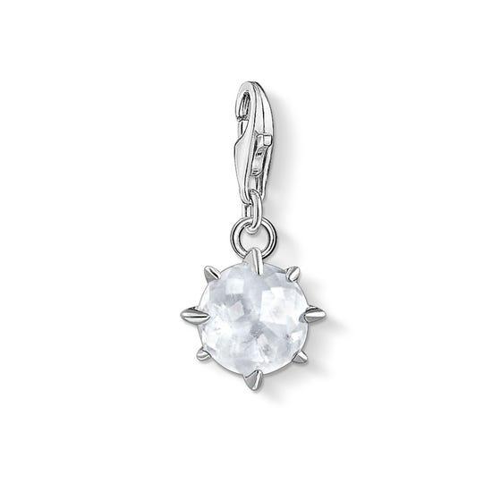 Silver Rock Crystal April Birthstone Charm