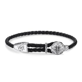 Rebel Black Leather Compass Bracelet