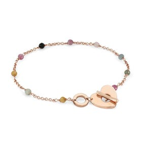 Mon Amour Rose Gold Plated Tourmaline Heart T-Bar Bracelet