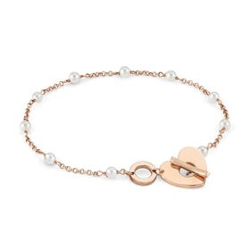 Mon Amour Rose Gold Plated Pearl Heart T-Bar Bracelet