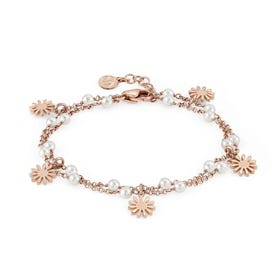 Mon Amour Rose Gold Plated Pearl Layered Flower Bracelet