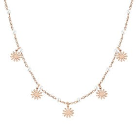Mon Amour Rose Gold Plated Pearl Flower Necklace