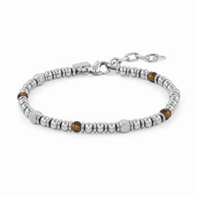 Instinct Stainless Steel Tiger's Eye Bead Bracelet