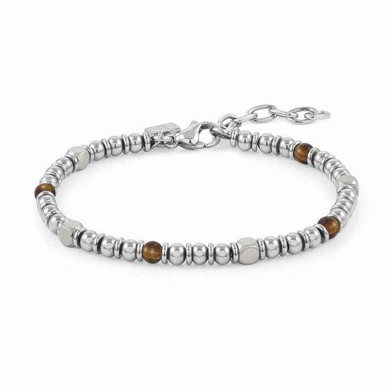 Instinct Stainless Steel Tiger's Eye Bead Bracelet