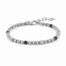 Instinct Stainless Steel Blue Agate Bead Bracelet