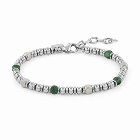 Instinct Stainless Steel Green Malachite Bead Bracelet