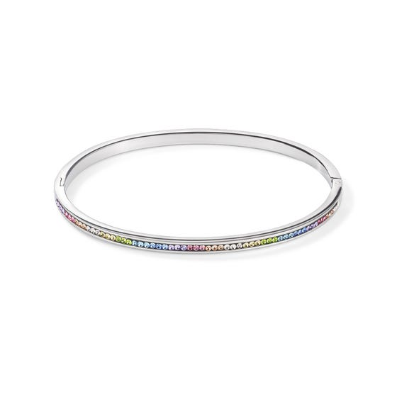 Elegance Channel Set Bangle Pale Rainbow Crystal