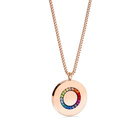 Elegance Halo Disc Necklace Rose & Rainbow Crystal