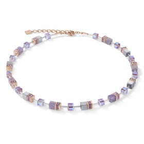 Precious GEOCUBE Necklace Rose, Light Amethyst & Haematite