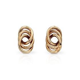 9ct Gold Interlinked Circle Stud Earrings