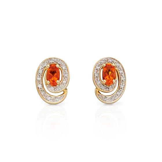 9ct Gold Diamond & Fire Opal Stud Earrings