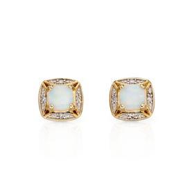9ct Gold Opal & Diamond Stud Earrings
