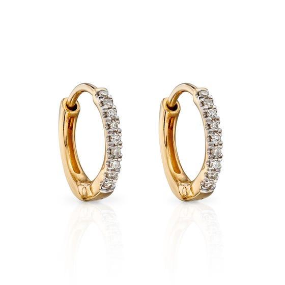 9ct Gold Diamond Huggie Hoop Earrings 10mm