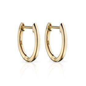 9ct Gold Plain Huggie Hoop Earrings 13mm